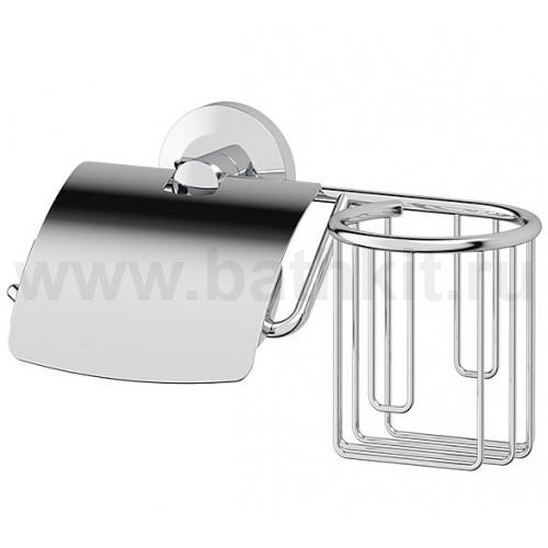 Держатель туалетной бумаги с крышкой и освежителя (хром)