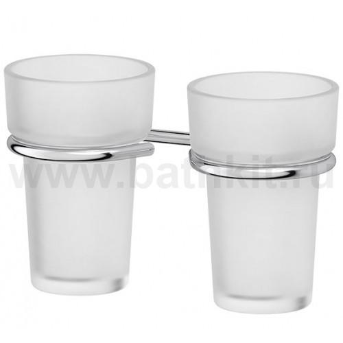 Держатель с 2-мя стаканами - компонент (матовый хрусталь; хром)