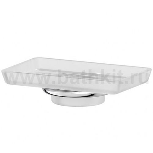Мыльница стеклянная - компонент (матовый хрусталь; хром)