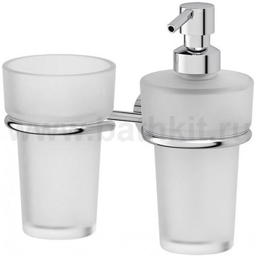 Держатель со стаканом и емкостью для жидкого мыла (матовый хрусталь; хром)