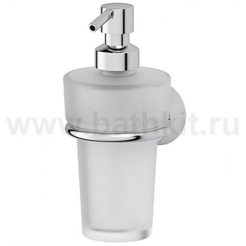 Держатель с емкостью для жидкого мыла (матовый хрусталь; хром)