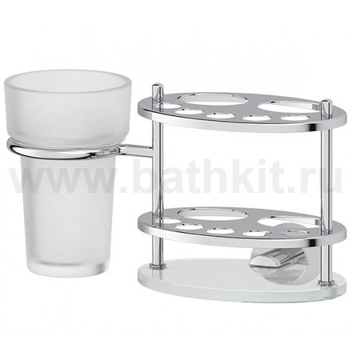 Держатель зубных щеток и пасты со стаканом (матовый хрусталь, хром)