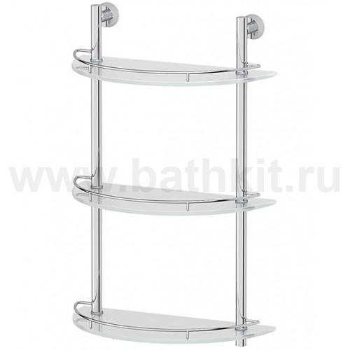 Полка 3-х ярусная 40 см FBS Vizovice  (матовое стекло и хром) - фото
