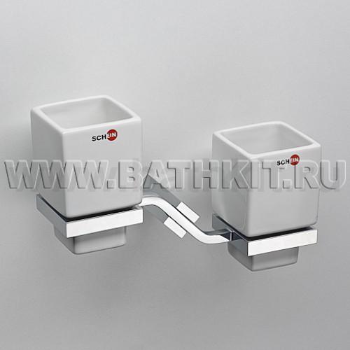 Стакан керамика двойной к стене квадратный