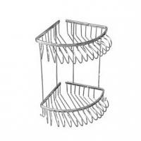 Полка решетка угловая двойная, хром