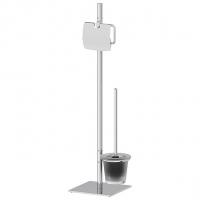 Стойка с 2-мя аксессуарами для туалета 72 см (матовый хрусталь; хром)
