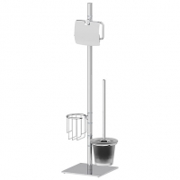 Стойка с 3-мя аксессуарами для туалета 72 см (матовый хрусталь; хром)