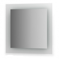 Зеркало со встроенными светильниками (70х70 см, хром)