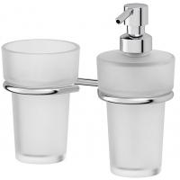 Держатель со стаканом и емкостью для жидкого мыла - компонент (матовый хрусталь; хром)