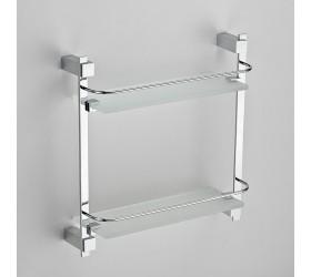 Полка прямая стеклянная с ограничителем 2-этажная