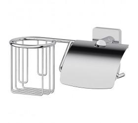 Держатель освежителя и туалетной бумаги с крышкой (хром)