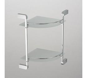 Полка угловая стеклянная с ограничителем 2-этажная