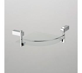 Полка угловая стеклянная с ограничителем 1-этажная
