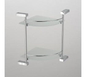 Полка угловая стекло с ограничителем 2-этажная