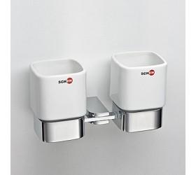 Стакан керамический двойной к стене квадратный